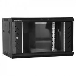 Rack 6U 600x600, montare pe perete, usa din sticla, panouri laterale detasabile si securizate , asamblat, culoare negru RAL 9004, DATEUP