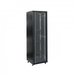 Rack 47U 800x800, montare pe podea, usa din sticla, panouri laterale detasabile si securizate , dezasamblat, culoare negru RAL 9004, DATEUP