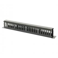 Ghidaj patchcord-uri metalic cu capac (organizator cabluri rack) , 1U , negru - DATEUP