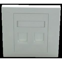 Faceplate Keystone RJ45,86x86, 2 porturi, EMTEX