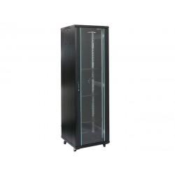 Rack 27U 600x800, montare pe podea, usa din sticla, panouri laterale detasabile si securizate, dezasamblat, culoare negru RAL 9004, DATEUP