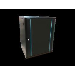 Rack 12U 600x450, montare pe perete, usa din sticla, panouri laterale detasabile si securizate , asamblat, culoare negru RAL 9004, DATEUP