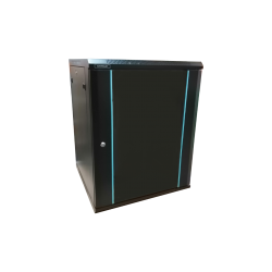 Rack 15U 600x600, montare pe perete, usa din sticla, panouri laterale detasabile si securizate , asamblat, culoare negru RAL 9004, DATEUP