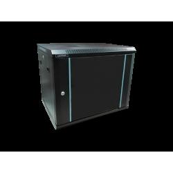 Rack 9U 600x600, montare pe perete, usa din sticla, panouri laterale detasabile si securizate , asamblat, culoare negru RAL 9004, DATEUP
