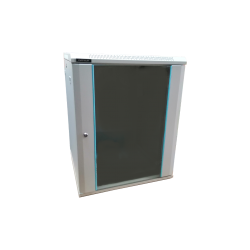 Rack 12U 600x450, montare pe perete, usa din sticla, panouri laterale detasabile si securizate, asamblat, culoare gri RAL 7035, DATEUP