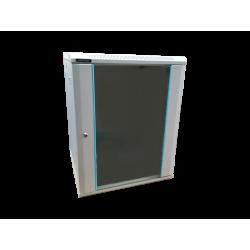 Rack 15U 600x600, montare pe perete, usa din sticla, panouri laterale detasabile si securizate, asamblat, culoare gri RAL 7035, DATEUP