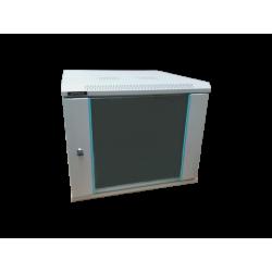 Rack 6U 600x600, montare pe perete, usa din sticla, panouri laterale detasabile si securizate, asamblat, culoare gri RAL 7035, DATEUP