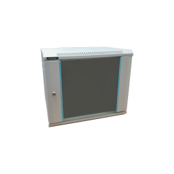 Rack 9U 600x450, montare pe perete, usa din sticla, panouri laterale detasabile si securizate, asamblat, culoare gri RAL 7035, DATEUP