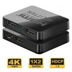 Splitter HDMI 2 porturi, 1 intrare - 2 iesiri, 3D, 4K x 2K, FULL HD, cablu USB, PremiumCord