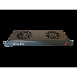 Ventilator 2 fan + cablu alimentare 1,5m , 1U , negru - DATEUP