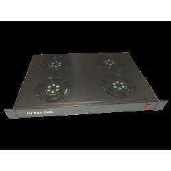 Ventilator 4 fan + cablu alimentare 1,5m , 1U , negru - DATEUP