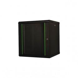 Rack 9U 600x450, montare pe perete, usa din sticla, panouri laterale detasabile, asamblat, culoare negru RAL 9005, Lande