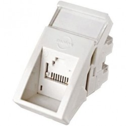 Conector inclinat, 1xRJ45 STP cat.6, 22.5x45 PowerCat, alb, (compatibil Legrand Mosaic) - Molex