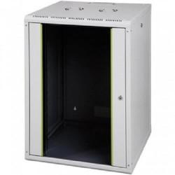 Rack 16U 600x600, montare pe perete, usa din sticla, panouri laterale detasabile, asamblat, culoare gri RAL 7035, Lande