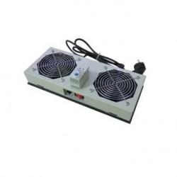 Unitate 2xVentilatoare cu termostat + intrerupator, pt. rack de podea, culoare negru RAL9005, Lande