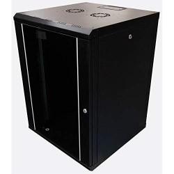 Rack 12U 600x450, montare pe perete, usa din sticla, panouri laterale detasabile, asamblat, culoare negru RAL 9005, Lande