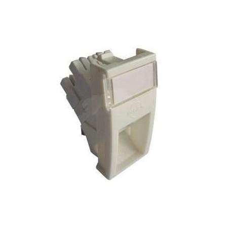 Conector inclinat, 1xRJ45 UTP cat.5e, 22.5x45 PowerCat, alb, (compatibil Legrand Mosaic) - Molex