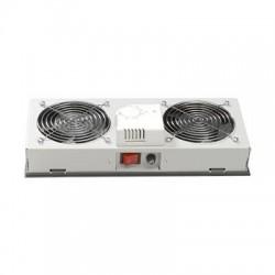 Unitate 2xVentilatoare cu termostat + intrerupator, pt. rack de perete, culoare gri RAL7035, Lande