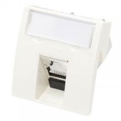 Conector inclinat, 1xRJ45 UTP cat.6, 45x45 PowerCat, alb, (compatibil Legrand Mosaic) - Molex